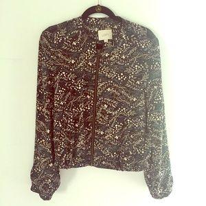 Floral zip up Bomber style LOFT jacket